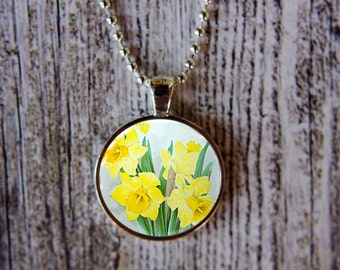 Daffodil Necklace, March Birth Month Necklace, Daffodil Jewelry, March Flower of the Month,March Birthday, Birthday Necklace, Gift Under 15