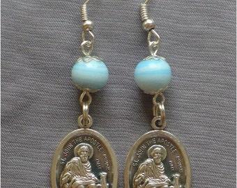 Saint John the Apostle - 8mm Blue Glass Earrings