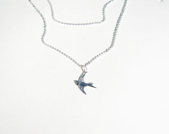 Sterling Silver, Tiny Silver Sparrow, Double Sterling Silver Bird, Simple Flying Bird Necklace Silver, Bridesmaid, Layered Dainty Dove