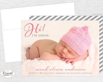FREE SHIPPING - Hi Birth Announcement - Baby Boy or Girl Photo Birth Announcement - New Baby - Personalized Photo Card - Digital or Printed
