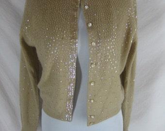 Cashmere 1950s 1960s Milk Chocolate Sequin Vintage Pin Up Cardigan Sweater C 40