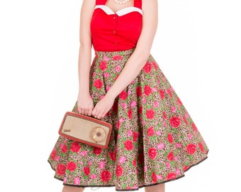 Made to Order, Available in UK Sizes 6-24, Leopard and Rose print rockabilly handmade 50's inspired full circle skirt, with black satin trim