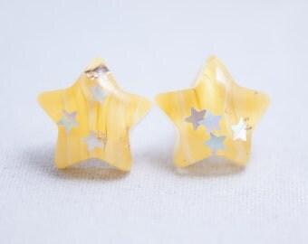 Glitter Sparkling Yellow Star  Earrings – One Of A Kind – Everyday Earrings - Teen - Girl - Kawaii