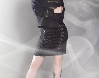 Brassy pinstriped pencil skirt with chains and d-rings steampunk Limited Edition Handmade in Italy