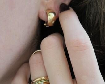 Solid 14K Yellow Gold Huggie Earrings Half Hoop Huggies Clip on Hoops Non Pierced Ears Wide Simple Sophisticated Gift Grandmother Great Aunt