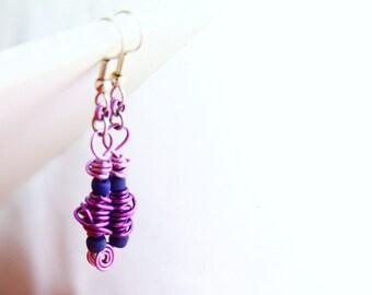 Purple Wire Dangle Earrings (WE0009)