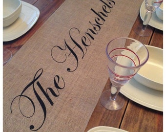Burlap Table Runner with custom name and FINISHED edges - Holiday decorating Wedding runner Home decor