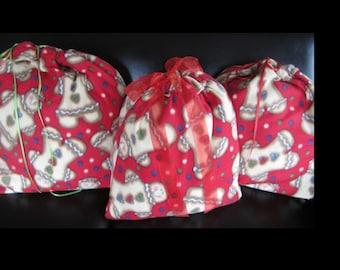 Christmas Gift Bag Gingerbread Collection of 3 Reusable Gift Wrap