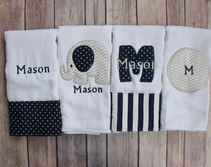 Baby Boy Elephant Burp Cloth Set of 4, Elephant Burp, Navy Grey, Boy Elephant Gift, Burp Cloth Set, Boy Burp, Personalized Boy, Monogrammed
