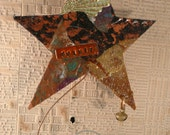Magic Wand  Mixed Media Collage Star Spirit Wand Spirit Assemblage Collage Original Art Number 1 Catch A Falling Star Wishing On A Star Art