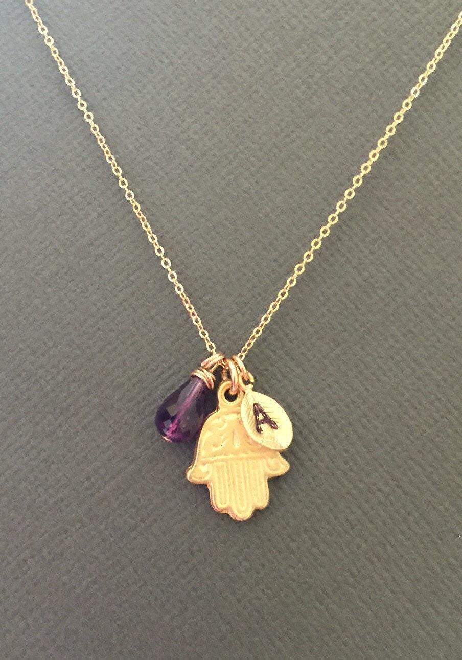 Gold Hamsa Hand necklace Hamsa Hand Jewelry Protection