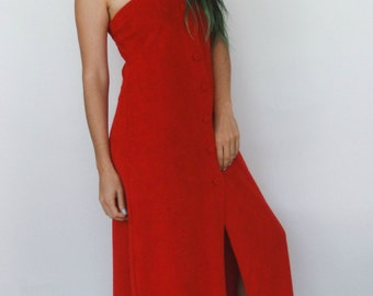 SALE Vintage 70s Red Terrycloth Strapless Maxi Dress