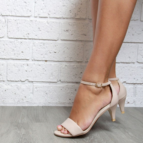 Nude Low Heel Wedding Shoes Evening shoes Leather by ForeverSoles