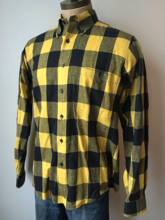 Vintage mens saks fifth avenue yellow black buffalo plaid for Mens yellow plaid flannel shirt
