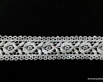 White Flower Embroidery Crochet (Cotton) Floral Lace Trim - 02L27
