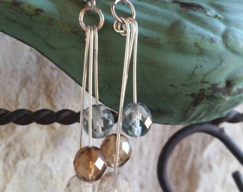 Teal, Brown and Crystal Clear Dangling Bead Earrings