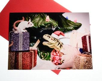 Dinosaur Christmas Card: Dino and the Mouse, Animal Funny Holiday Card, Secret Santa