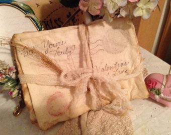 Primitive Handmade Valentine Love Letters, Set of 5 Fabric Letter Bowl Filler or Ornaments