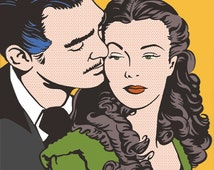 Gone With the Wind Scarlett O'Hara Rhett Butler Vivien Leigh Clark Gable Drawing Illustration Fan Art