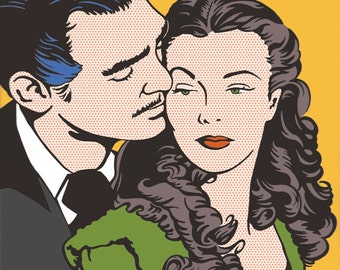 Gone With the Wind Scarlett O'Hara Rhett Butler Vivien Leigh Clark Gable Drawing Illustration Fan Art