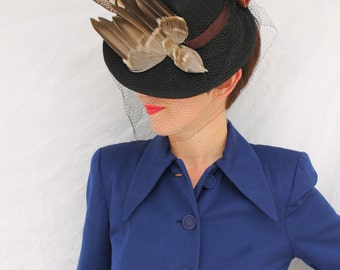 SALE / In-Stock: Vintage 1940s-Style Felt Fedora Tilt Hat with Faux Bird and Vintage Veiling