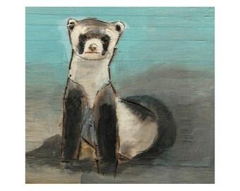 Black Footed Ferret Giclee Art Print, Ferret Art, Wild Ferret print, thepaintedgrove