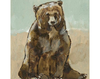 Grizzly Bear Achival Print, Animal illustration, Bear Wall Art, thepaintedgrove