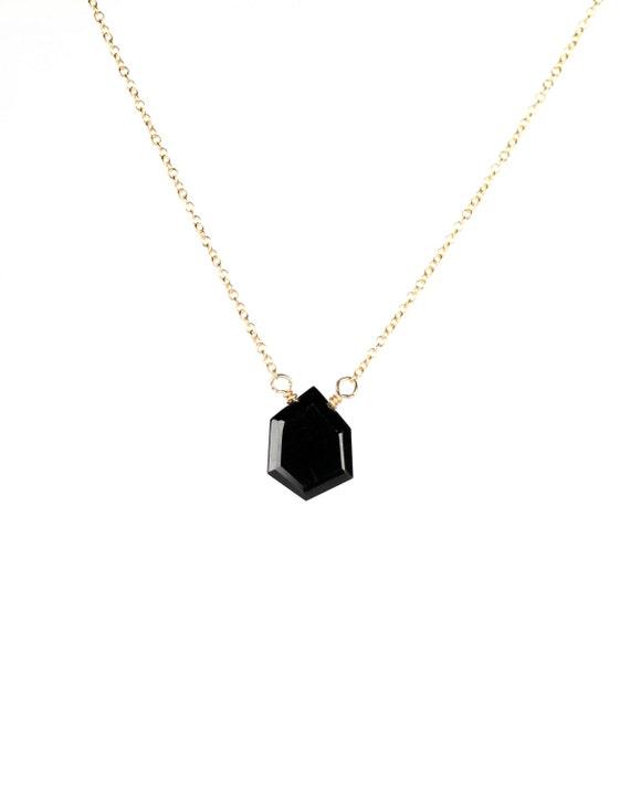 Onyx necklace - geometric necklace - black onyx necklace- a dainty asymmetrical black onyx wire wrapped  onto a 14k gold vermeil chain