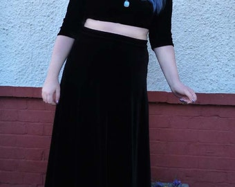 Morgana - black velvet maxi skirt gothic witchy spring summer autumn winter