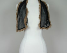 1980's silk scarf with brown rabbit fur black chiffon neck scarf from Laura Leigh collections