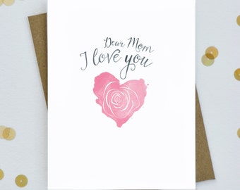 Mother's Day Card - Dear Mom I Love You - Heart Card for Mom - I love mom card - Card for mothers day - Birthday card for mom (SS-02)