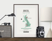 Zombie Safe Zone Bristol Map Poster - United Kingdom Map