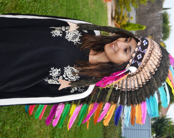 PRICE REDUCED E38-Extra Large colorful Feather Headdress (43 inch long )