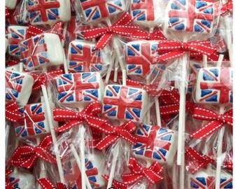 12 Union Jack Cake Pops for British party England London calling UK flag & 21 Cake Pops for London England British party favor UK Aboutintivar.Com