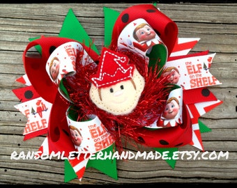 Christmas Elf Hair Bow Red Tinsel Green and Red Christmas Hair Bows Elves Dress Elf Hats Elf Outfit Handmade Elf Felties