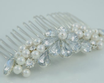 Isabella Crystal Diamante & Swarovski Pearl Bridal Hair Slide / Comb