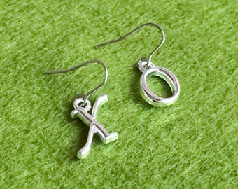 Silver Plated Personalised Initial Stainless Steel Earrings, Dainty Drop Dangle Earrings E102
