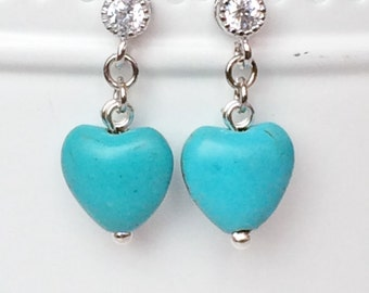 Turquoise Beads Earrings, Hearts Earrings, Japan Rhodium Earrings, Fun Earrings, Bridesmaid Gift, Dainty Drop Dangle Earrings E108