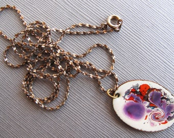Retro 1970s Oval Enamel Pendant, Vintage White Purple Orange Enamel Swirls Necklace, Long Necklace