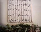 """Whitewashed, distressed, wooden Christmas sign """"O Holy night"""""""