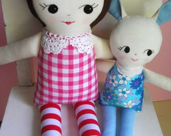 Vintage - Inspired Classic Ragdoll in Pink check dress - Handmade Cloth Doll Plush toy Childrens toy