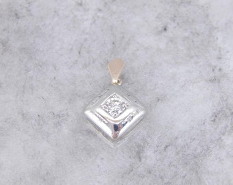 Polished, Modernist Style Diamond Pendant With Square Profile ENQ6VJ-N
