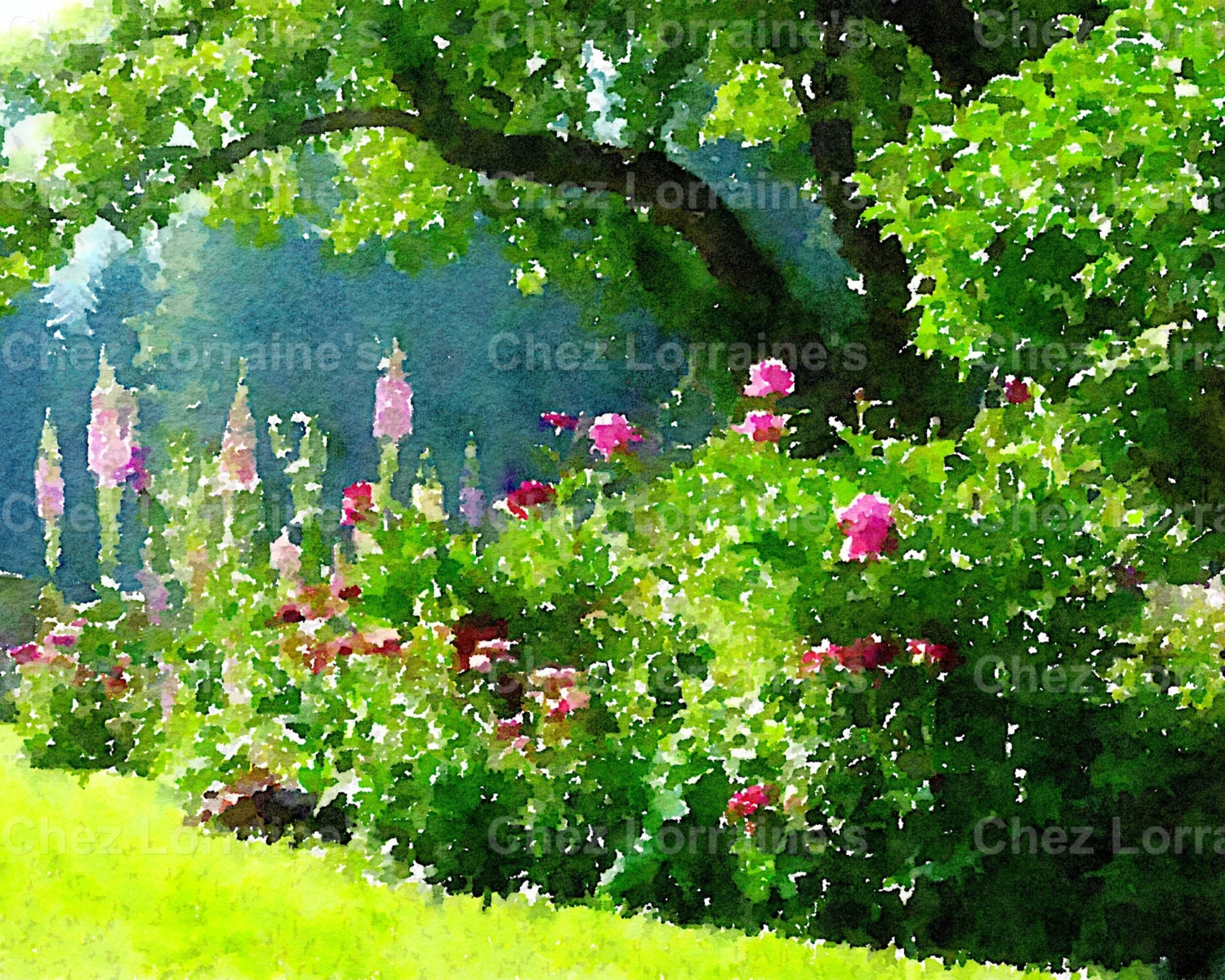 The Garden: A Fine Art Watercolor Landscape Print, Cottage or French ...