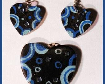 Blue Retro Heart Earrings