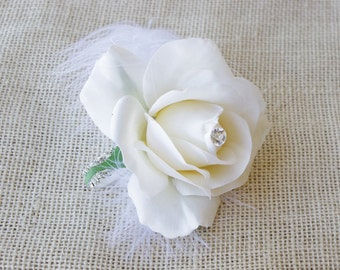 Silk Rose Wedding Wrist Corsage  - Natural Touch Rhinestone Bracelet Wedding Flower Corsage - YOUR COLOR