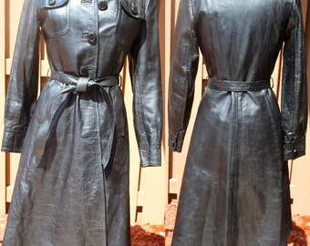 Vintage 80s Black Leather Long Trech Coat Small