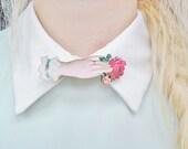 Victorian Mourning Hand Rose Love Token Collar Pin Badge Brooch