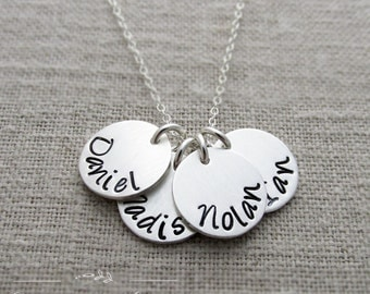 Sterling Silver Hand Stamped Name Necklace Four Names, Mother Jewelry