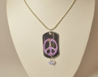 Riveted Peace Sign Dog Tag Necklace