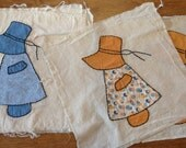 Vintage Quilt Blocks, Sunbonnet Sue, Hand Stitched Appliqued, Cotton Print Solid Fabric, Cottage Rustic